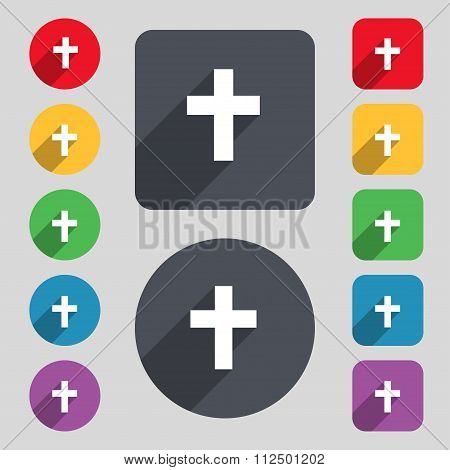 Religious Cross, Christian Icon Sign. A Set Of 12 Colored Buttons And A Long Shadow. Flat Design.