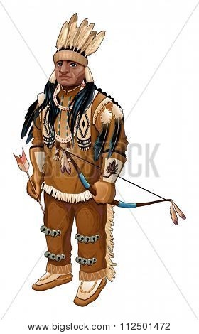 Native American with bow and arrow. Vector isolated character.