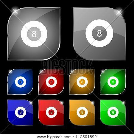Eightball, Billiards  Icon Sign. Set Of Ten Colorful Buttons With Glare.