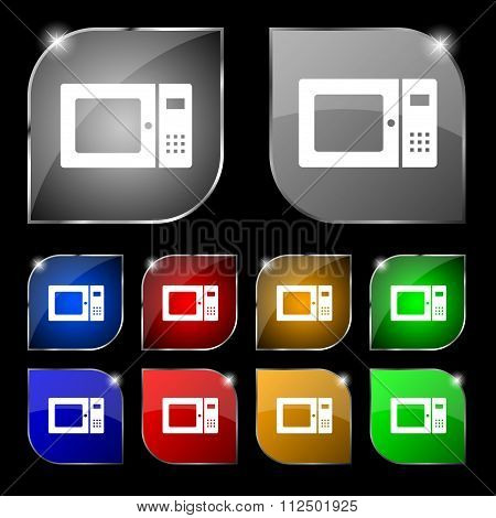 Microwave Icon Sign. Set Of Ten Colorful Buttons With Glare.