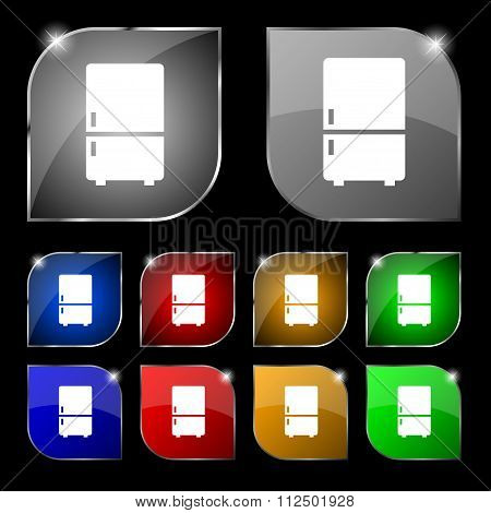 Refrigerator Icon Sign. Set Of Ten Colorful Buttons With Glare.