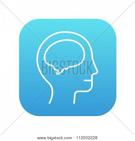 Human head with brain line icon for web, mobile and infographics. Vector white icon on the blue gradient square with rounded corners isolated on white background.
