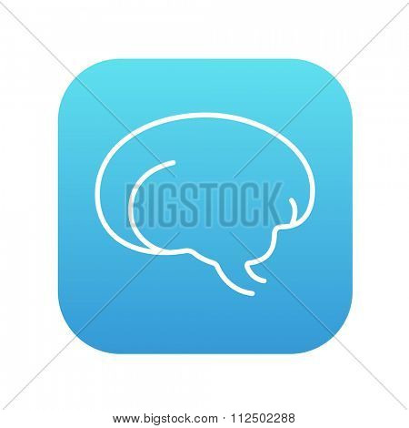 Brain line icon for web, mobile and infographics. Vector white icon on the blue gradient square with rounded corners isolated on white background.
