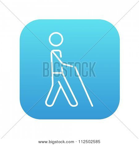 Blind walking man with a stick line icon for web, mobile and infographics. Vector white icon on the blue gradient square with rounded corners isolated on white background.