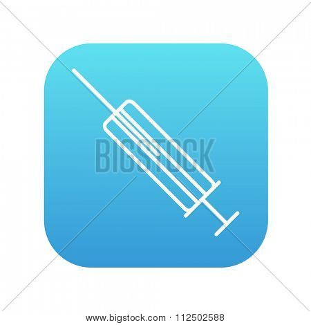 Syringe line icon for web, mobile and infographics. Vector white icon on the blue gradient square with rounded corners isolated on white background.