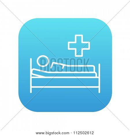 Patient lying on the bed line icon for web, mobile and infographics. Vector white icon on the blue gradient square with rounded corners isolated on white background.