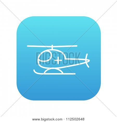 Air ambulance line icon for web, mobile and infographics. Vector white icon on the blue gradient square with rounded corners isolated on white background.