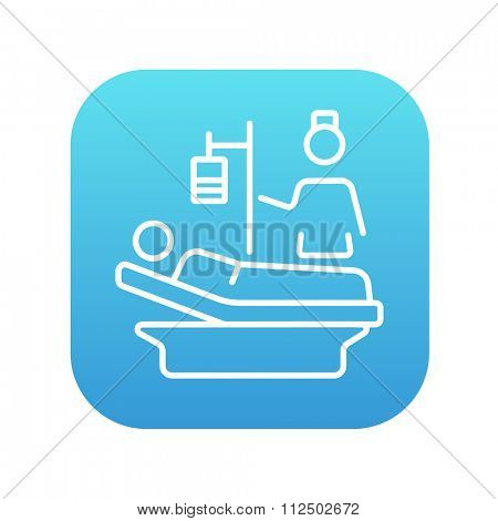 Nurse attending a patient lying on the bed line icon for web, mobile and infographics. Vector white icon on the blue gradient square with rounded corners isolated on white background.