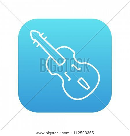 Cello line icon for web, mobile and infographics. Vector white icon on the blue gradient square with rounded corners isolated on white background.