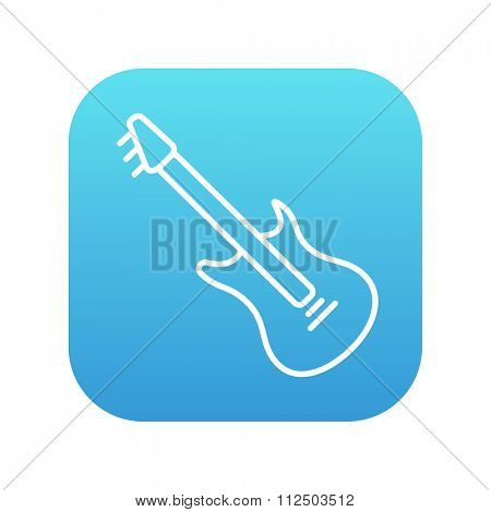 Electric guitar line icon for web, mobile and infographics. Vector white icon on the blue gradient square with rounded corners isolated on white background.