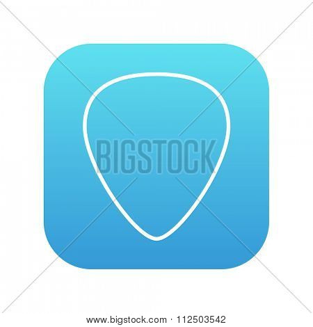 Guitar pick line icon for web, mobile and infographics. Vector white icon on the blue gradient square with rounded corners isolated on white background.