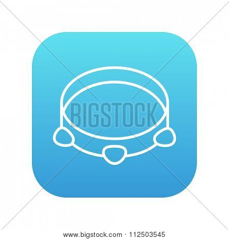 Tambourine line icon for web, mobile and infographics. Vector white icon on the blue gradient square with rounded corners isolated on white background.