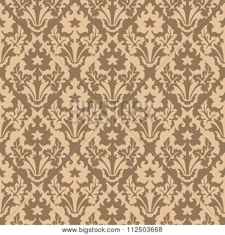Seamless background image of vintage plant reverse color pattern kaleidoscope.