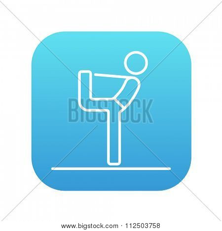 Man in yoga pose nataradzhasana line icon for web, mobile and infographics. Vector white icon on the blue gradient square with rounded corners isolated on white background.