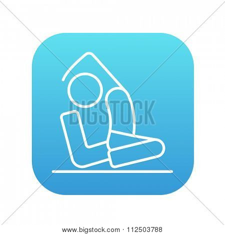 Man sitting in asana eka pada radzhakapotasana line icon for web, mobile and infographics. Vector white icon on the blue gradient square with rounded corners isolated on white background.
