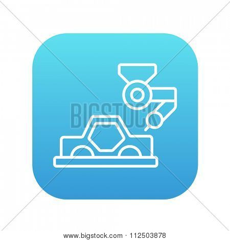 Automated assembly line for cars line icon for web, mobile and infographics. Vector white icon on the blue gradient square with rounded corners isolated on white background.
