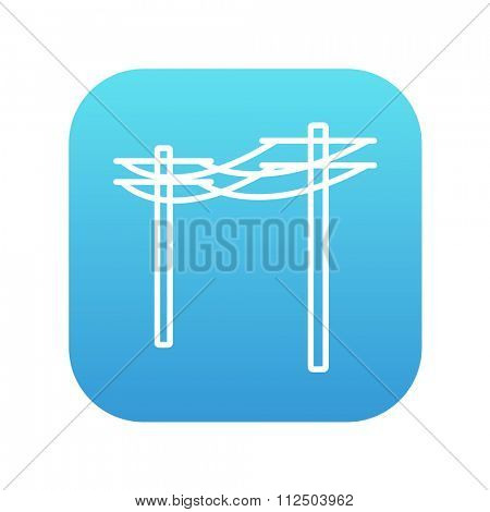 High voltage power lines line icon for web, mobile and infographics. Vector white icon on the blue gradient square with rounded corners isolated on white background.