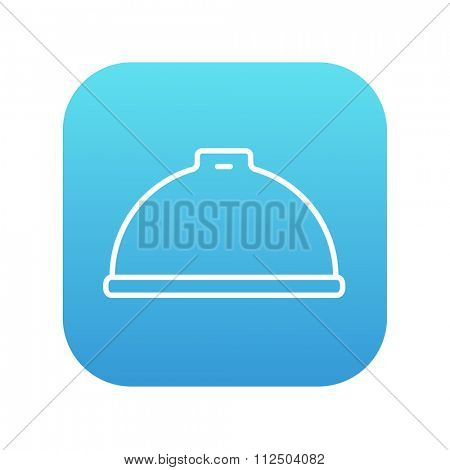 Restaurant cloche line icon for web, mobile and infographics. Vector white icon on the blue gradient square with rounded corners isolated on white background.