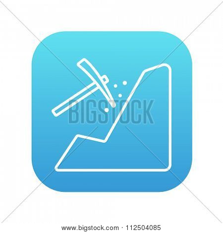 Mining line icon for web, mobile and infographics. Vector white icon on the blue gradient square with rounded corners isolated on white background.