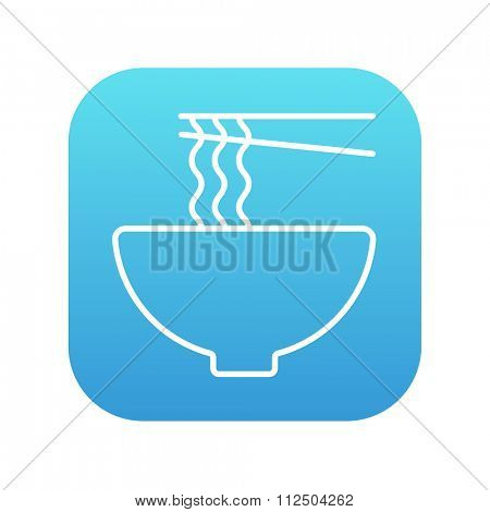 Bowl of noodles with a pair of chopsticks line icon for web, mobile and infographics. Vector white icon on the blue gradient square with rounded corners isolated on white background.