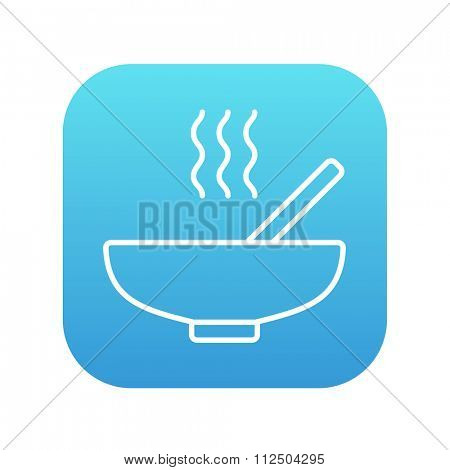 Bowl of hot soup with spoon line icon for web, mobile and infographics. Vector white icon on the blue gradient square with rounded corners isolated on white background.