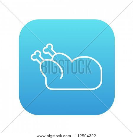 Raw chicken line icon for web, mobile and infographics. Vector white icon on the blue gradient square with rounded corners isolated on white background.