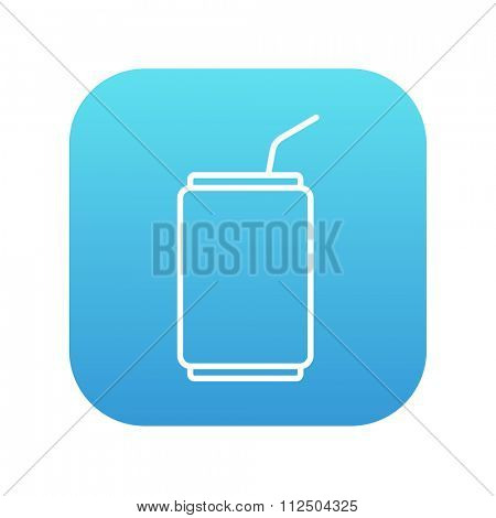 Soda can with drinking straw line icon for web, mobile and infographics. Vector white icon on the blue gradient square with rounded corners isolated on white background.