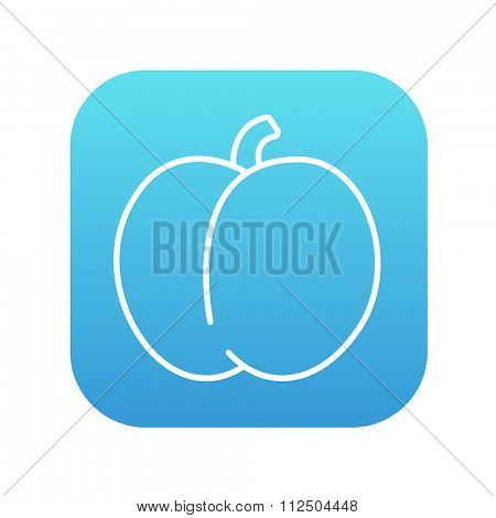 Plum with leaf line icon for web, mobile and infographics. Vector white icon on the blue gradient square with rounded corners isolated on white background.