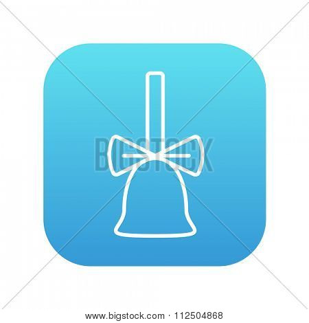 School bell with ribbon line icon for web, mobile and infographics. Vector white icon on the blue gradient square with rounded corners isolated on white background.