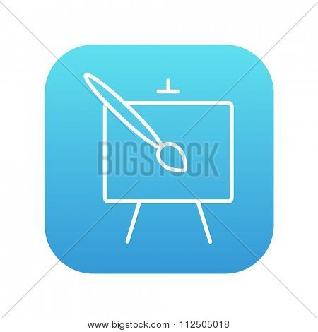 Easel and paint brush line icon for web, mobile and infographics. Vector white icon on the blue gradient square with rounded corners isolated on white background.
