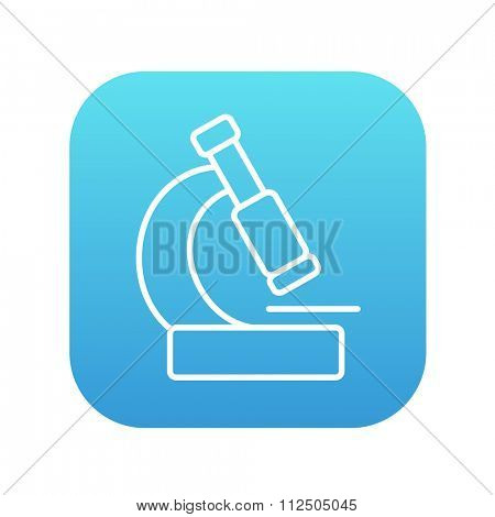 Microscope line icon for web, mobile and infographics. Vector white icon on the blue gradient square with rounded corners isolated on white background.
