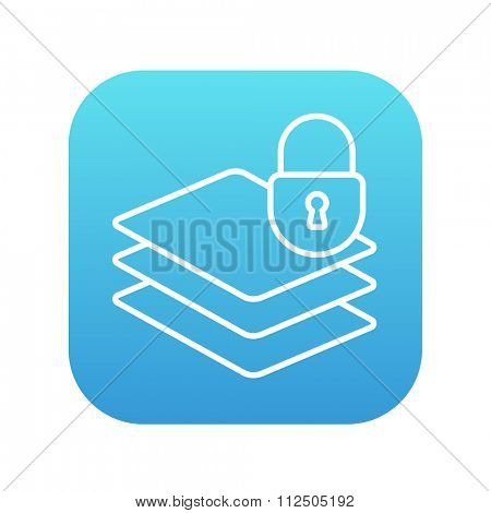 Stack of papers with lock line icon for web, mobile and infographics. Vector white icon on the blue gradient square with rounded corners isolated on white background.