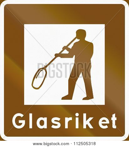 Road Sign Used In Sweden - Tourist Attraction Area: The Glass Empire