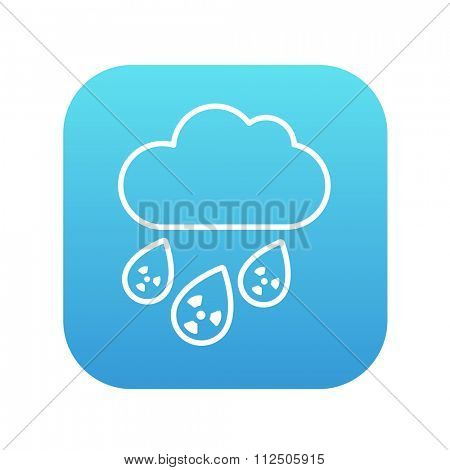 Radioactive cloud and rain line icon for web, mobile and infographics. Vector white icon on the blue gradient square with rounded corners isolated on white background.