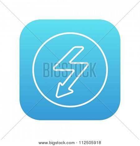 Lightning arrow going down inside circle line icon for web, mobile and infographics. Vector white icon on the blue gradient square with rounded corners isolated on white background.
