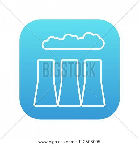 Factory pipes line icon for web, mobile and infographics. Vector white icon on the blue gradient square with rounded corners isolated on white background.