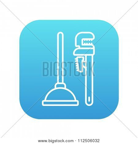 Pipe wrenches and plunger line icon for web, mobile and infographics. Vector white icon on the blue gradient square with rounded corners isolated on white background.