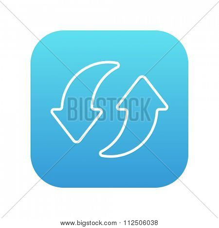 Two circular arrows line icon for web, mobile and infographics. Vector white icon on the blue gradient square with rounded corners isolated on white background.
