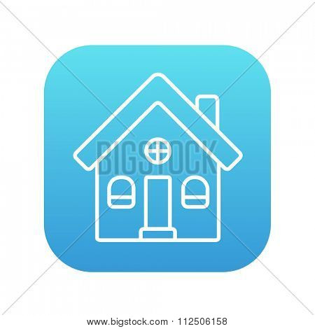 Detached house line icon for web, mobile and infographics. Vector white icon on the blue gradient square with rounded corners isolated on white background.