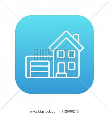 House with garage line icon for web, mobile and infographics. Vector white icon on the blue gradient square with rounded corners isolated on white background.