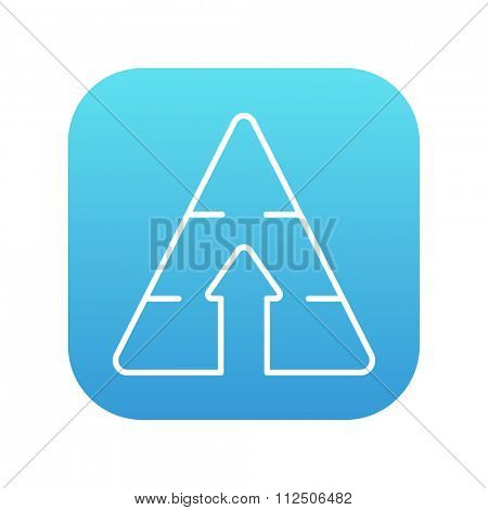 Pyramid with arrow up line icon for web, mobile and infographics. Vector white icon on the blue gradient square with rounded corners isolated on white background.