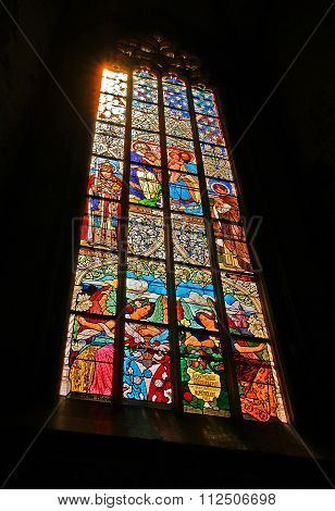 Kutna Hora, Czech Republic - July 04: Stained glass window in catholic church