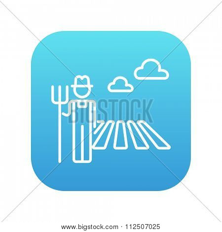 Farmer with pitchfork standing on the field line icon for web, mobile and infographics. Vector white icon on the blue gradient square with rounded corners isolated on white background.
