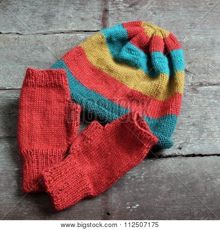 Winter, Knitted Gloves, Knit Hat