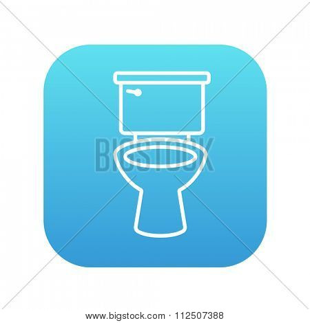 Lavatory bowl line icon for web, mobile and infographics. Vector white icon on the blue gradient square with rounded corners isolated on white background.