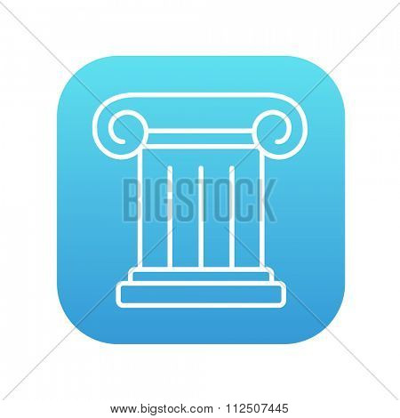 Ancient column line icon for web, mobile and infographics. Vector white icon on the blue gradient square with rounded corners isolated on white background.