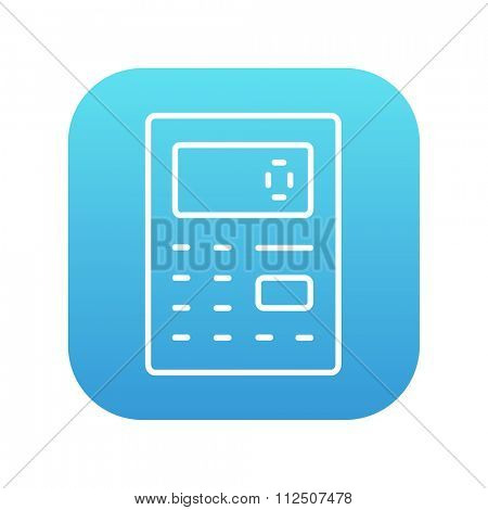 Calculator line icon for web, mobile and infographics. Vector white icon on the blue gradient square with rounded corners isolated on white background.