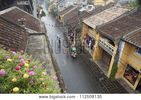 View from above of Tran Phu street in Hoi An ancient town on a rainy day