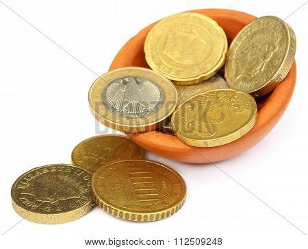 British Pound And Euro Coin