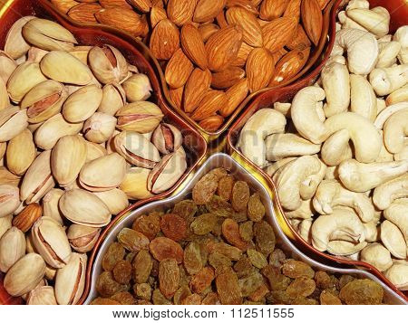 Delicious Healthy Mixed Dry Fruits, Almonds, Cashew Nuts, Pistachio and Seeds
